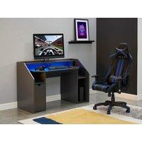Silla de oficina gamer XENO - Respaldo reclinable - Piel sintética - Negro y azul