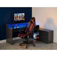 Silla de oficina gamer XENO - Respaldo reclinable - Piel sintética - Negro y rojo