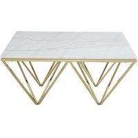 Mesa de centro MINDI - Mármol y metal - Blanco y dorado