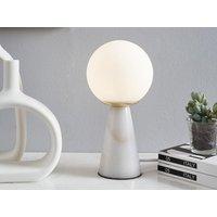 Lámpara de mesa estilo vintage VINTIA - Base de mármol blanco y pantalla de cristal blanco- 12 x 12 x 24 cm