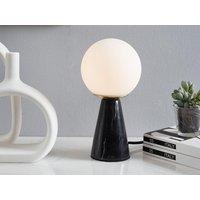 Lámpara de mesa estilo vintage VINTIA - Base de mármol negro y pantalla de cristal blanco - 12 x 12 x 24 cm