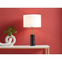 Lámpara de mesa estilo vintage MERPLE - Base de mármol negro y pantalla de tela blanco - 30 x 30 x 51 cm