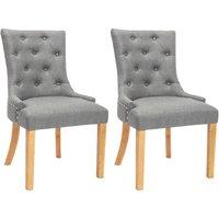 Juego de 2 sillas JOLIA - Tela y patas madera - Gris