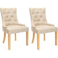 Juego de 2 sillas JOLIA - Tela y patas madera - Beige