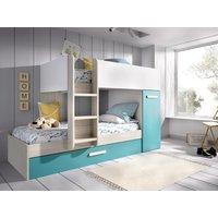 Litera con cama nido y compartimentos ANTHONY 3 x 90 x 190 cm - Blanco, roble y azul