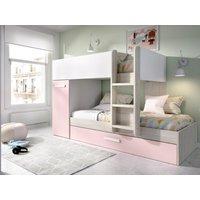 Litera con cama nido y compartimentos ANTHONY 3 x 90 x 190 cm - Blanco, roble y rose