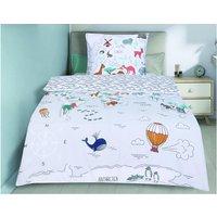 Juego de ropa de cama infantil 100% algodón - funda de edredón 140 x 200 cm + funda almohada 63 x 63 cm NOE - Multicolor