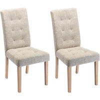 Juego de 2 sillas VILLOSA - Tela y Patas de madera - Color: beige