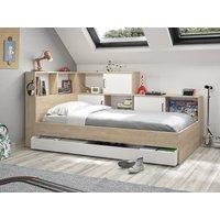 Cama ARMAND con compartimentos y cajón - 90 x 200 cm - Color: roble y blanco