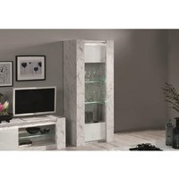 Aparador SABAN - 1 puerta - Con LEDs - Blanco lacado y efecto mármol