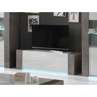 Mueble TV ZEKIO - 2 cajones - Con LEDs - Blanco lacado y efecto cemento