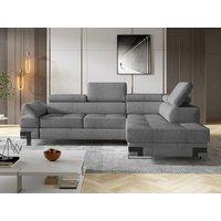 Sofá cama rinconera de tela DAMIEN II - Gris plata - Ángulo derecho