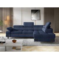 Sofá cama rinconera de tela DAMIEN II - Azul marino - Ángulo derecho