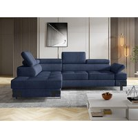 Sofá cama rinconera de tela DAMIEN II - Azul marino - Ángulo izquierdo