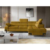 Sofá cama rinconera de tela DAMIEN II - Amarillo mostaza - Ángulo derecho