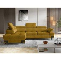 Sofá cama rinconera de tela DAMIEN II - Amarillo mostaza - Ángulo izquierdo