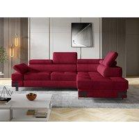 Sofá cama rinconera de tela DAMIEN II - Rojo cranberry - Ángulo derecho