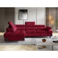 Sofá cama rinconera de tela DAMIEN II - Rojo cranberry - Ángulo izquierdo