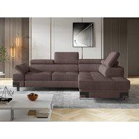 Sofá cama rinconera de tela DAMIEN II - Gris arenoso - Ángulo derecho
