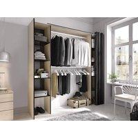 Armario ropero extensible DORIAN con cortina - Ancho 110/180 cm - Color: roble y antracita