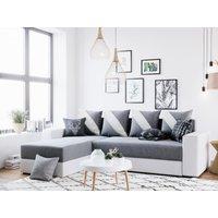 Sofá cama rinconera reversible de tela y piel sintética BERGAMA - Blanco y gris