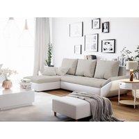 Sofá cama rinconera reversible de tela y piel sintética CARRY - Blanco y gris claro