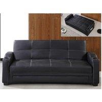 Sofá cama clic-clac de piel sintética MIRELLA - Negro