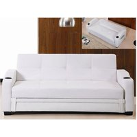 Sofá cama clic-clac de piel sintética MIRELLA - Blanco