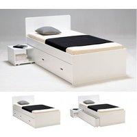 Estructura de cama con cajón y mesa de noche PACOME - 90x190 cm - Lacado blanco
