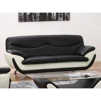 Sofá 3 plazas de piel sintética INDICE - Bicolor negro y blanco
