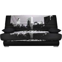 Sofá cama clic-clac de tela TULSA con colchón BULTEX - Estampado METROPOLIS