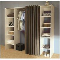 Armario vestidor extensible EMERIC - Blanco y cortina gris topo