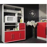 Aparador de cocina con ruedas ASTRID - 3 puertas, 2 cajones - Rojo