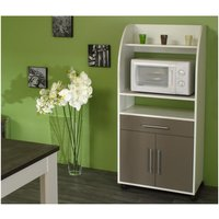 Mueble para microondas COLEEN - Gris topo - 2 puertas, 1 cajón