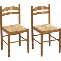 Conjunto de 2 sillas JEANNE - Haya maciza - Asiento en paja de arroz
