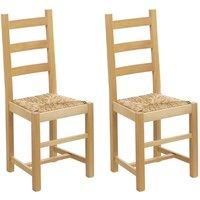 Conjunto de 2 sillas FARMER - Haya maciza y asiento en paja de arroz