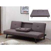 Sofá cama clic-clac de tela PRAGUE - Respaldo central abatible - Gris