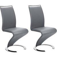 Conjunto de 2 sillas TWIZY - Piel sintética - Gris