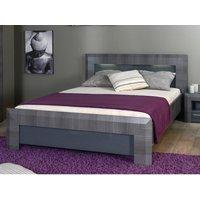 Estructura de cama BRITANY - 140x190 cm - Panel de partículas acabado aspecto olmo gris y luces LEDs