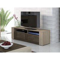 Mueble TV SUMAI - 2 cajones & 2 baldas - Color roble & chocolate