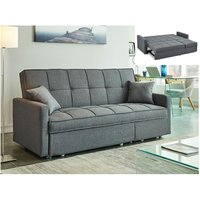Sofá-cama de 3 plazas de tela CANETTI - Gris