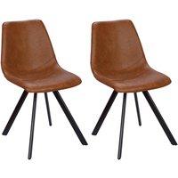 Lote de 2 sillas LUBINE - Piel sintética - Caramelo