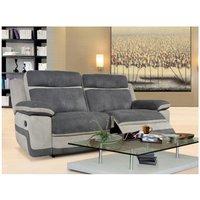 Sofá 3 plazas relax de microfibra TALCA - Antracita y gris claro