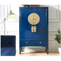 Armario NANTONG - 2 puertas y 2 cajones - Largo 105 cm - Madera de olmo- Azul oscuro