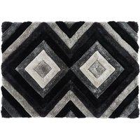 Alfombra shaggy efecto 3D SABLIER - poliéster - Gris negro y blanco - 160 x 230 cm