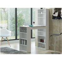 Mueble bar SKARN - Blanco y tablero con efecto granito