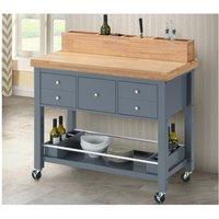 Mesa consola de cocina AROMATA con ruedas - 5 cajones - Madera de hevea