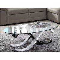Mesa de centro bicolor INFINITY II - cristal templado - Color blanco y negro