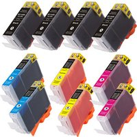 10 Pack - Compatible Canon BCI-3 Black and BCI-6 Ink Cartridge Set, Package Includes 4 Black, 2 Cyan, 2 Magenta and 2 Yellow Ink Cartridges