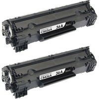 2 Pack - Compatible Replacement For HP 36A Toner Cartridge, Black (CB436A)